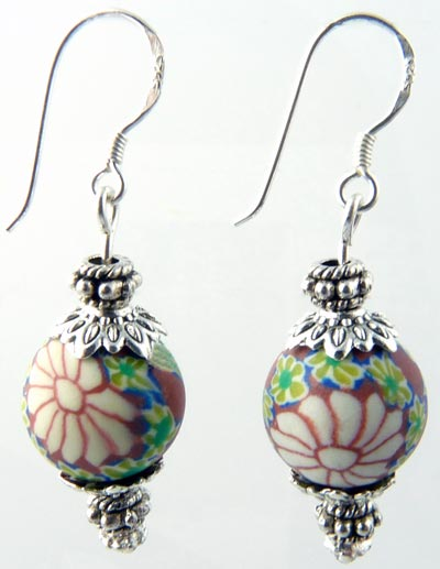 antique rose vintage single ball polymer clay earrings
