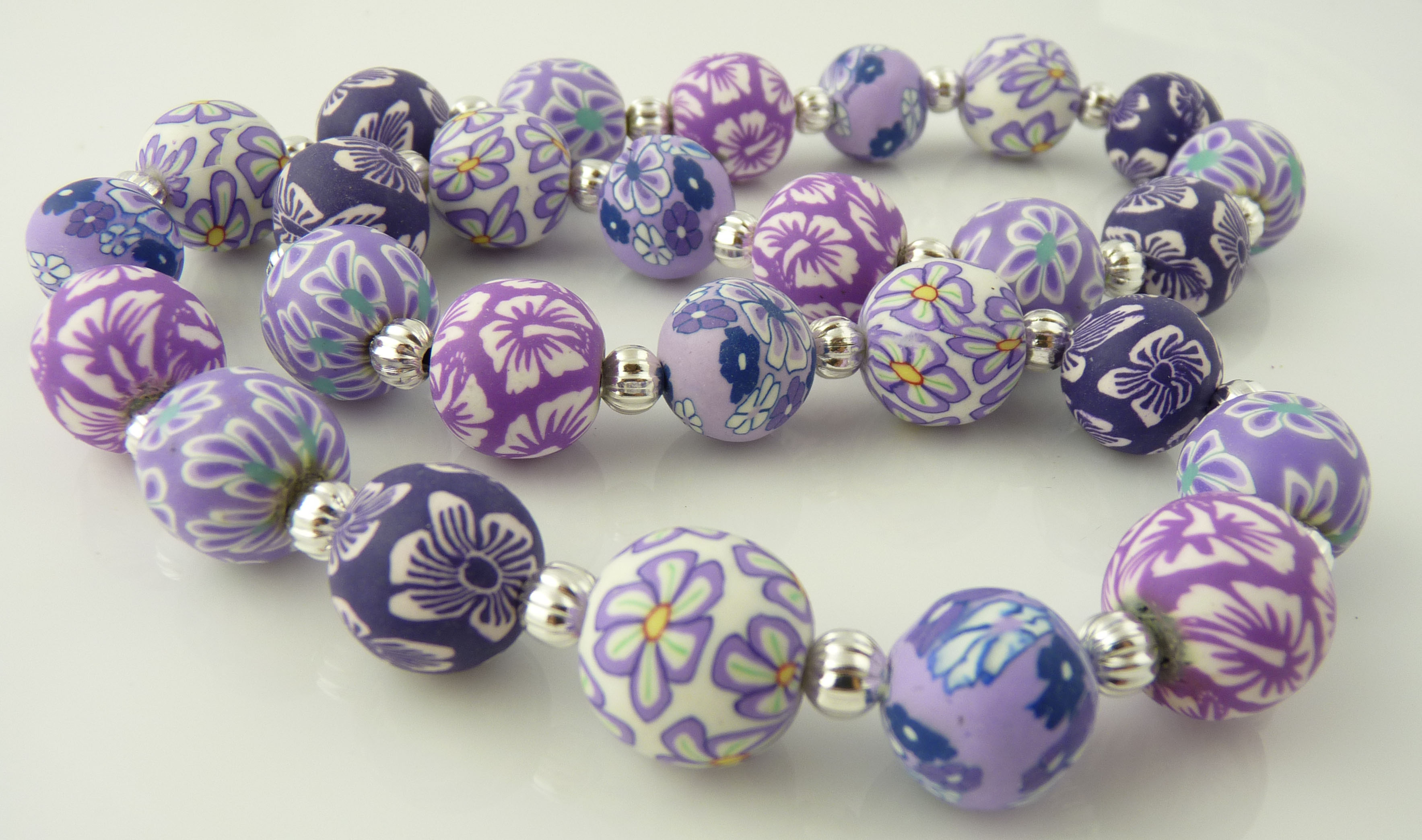 English Lavender 14mm Ball Polymer Clay Necklace Snazzy